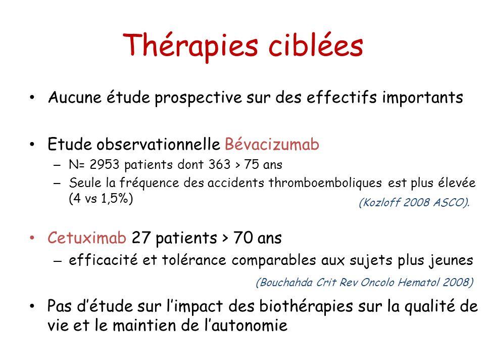 Thérapies ciblées Aucune étude prospective sur des effectifs importants Etude observationnelle Bévacizumab – N= 2953 patients dont 363 > 75 ans – Seul