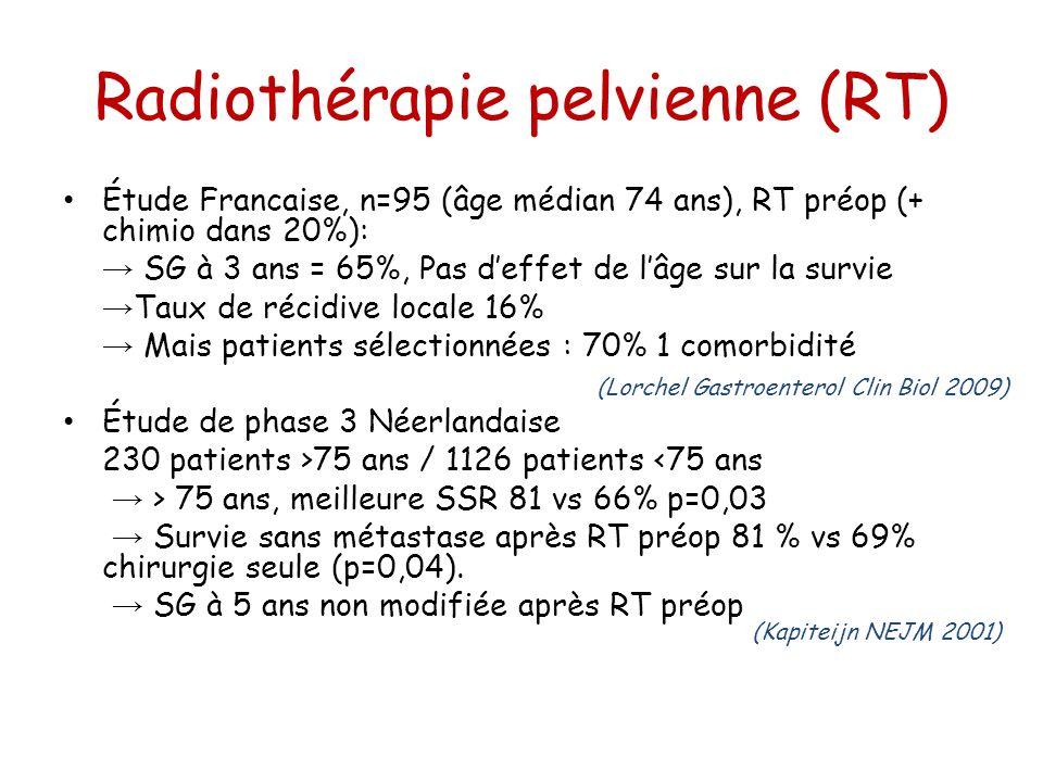 Radiothérapie pelvienne (RT) Étude Francaise, n=95 (âge médian 74 ans), RT préop (+ chimio dans 20%): SG à 3 ans = 65%, Pas deffet de lâge sur la surv