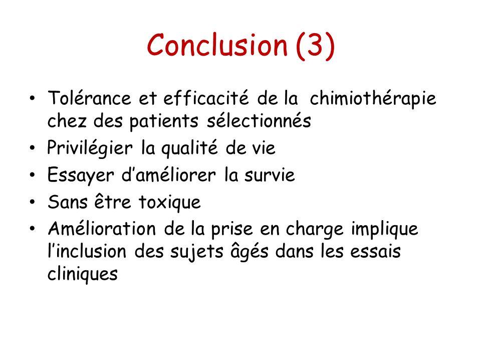 Conclusion (3) Tolérance et efficacité de la chimiothérapie chez des patients sélectionnés Privilégier la qualité de vie Essayer daméliorer la survie