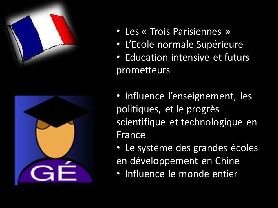 Les « Trois Parisiennes » LEcole normale Supérieure Education intensive et futurs prometteurs Influence lenseignement, les politiques, et le progrès scientifique et technologique en France Le système des grandes écoles en développement en Chine Influence le monde entier