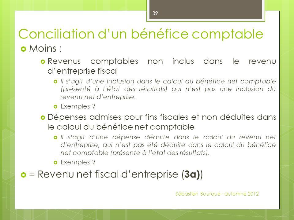 Conciliation dun bénéfice comptable Moins : Revenus comptables non inclus dans le revenu dentreprise fiscal Il sagit dune inclusion dans le calcul du