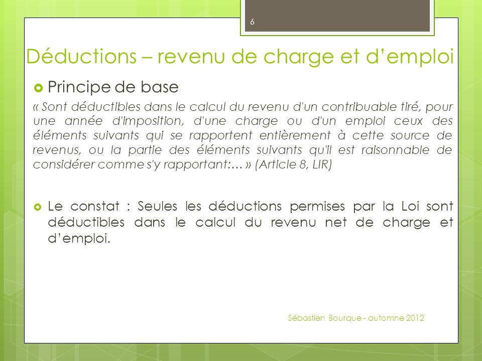Thèmes abordés Faire la distinction entre un revenu d emploi et un revenu d entreprise.