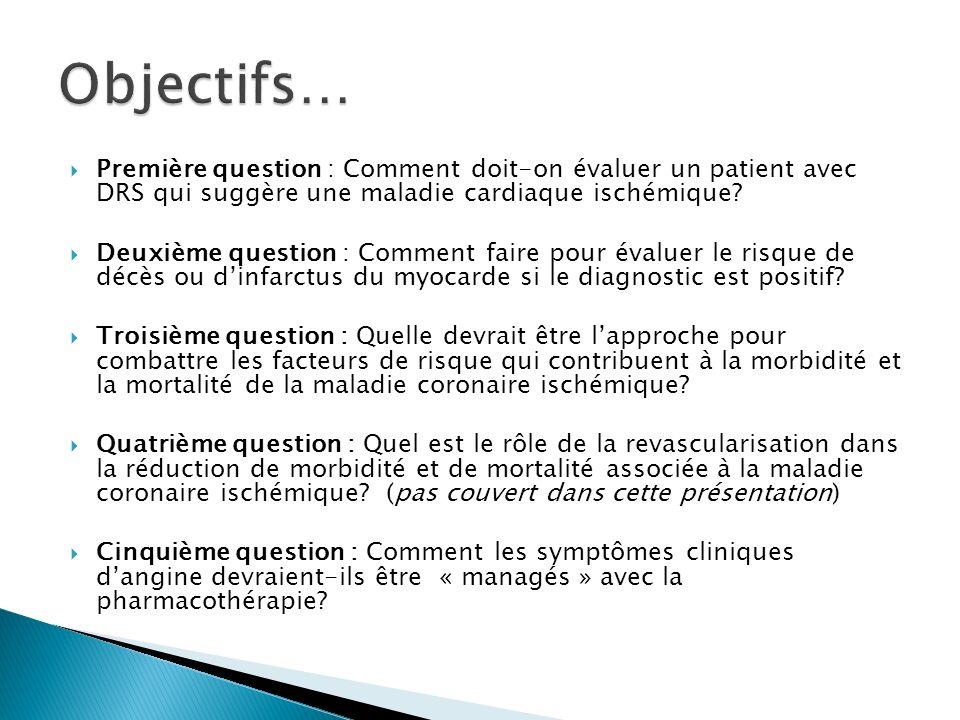 Première question : Comment doit-on évaluer un patient avec DRS qui suggère une maladie cardiaque ischémique.