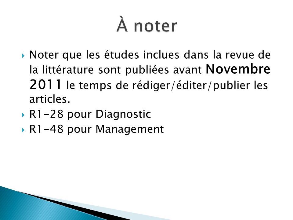 Noter que les études inclues dans la revue de la littérature sont publiées avant Novembre 2011 le temps de rédiger/éditer/publier les articles.