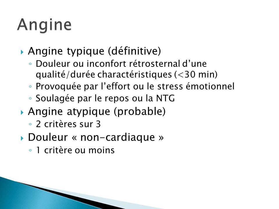 Angine typique (définitive) Douleur ou inconfort rétrosternal dune qualité/durée charactéristiques (<30 min) Provoquée par leffort ou le stress émotionnel Soulagée par le repos ou la NTG Angine atypique (probable) 2 critères sur 3 Douleur « non-cardiaque » 1 critère ou moins