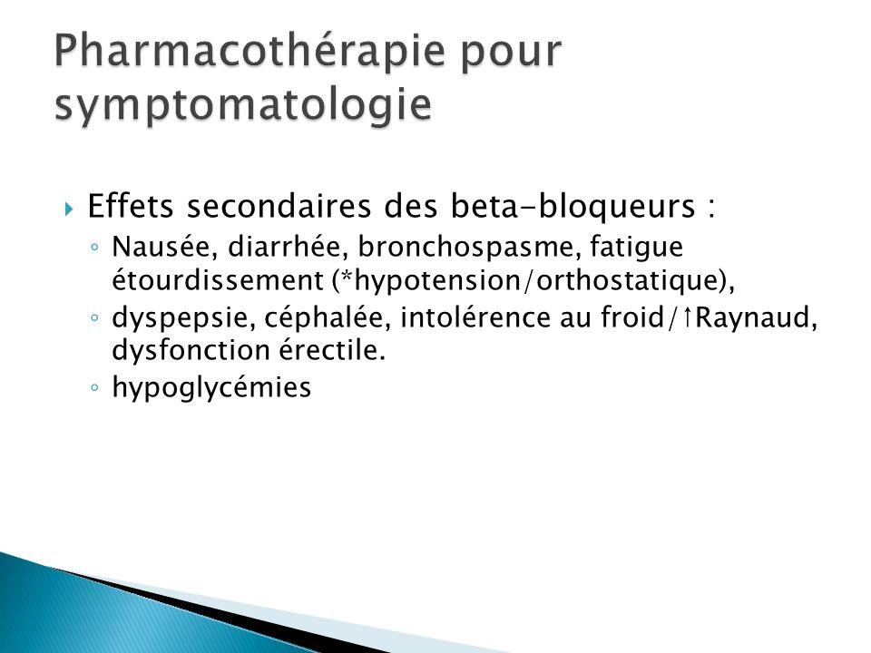 Effets secondaires des beta-bloqueurs : Nausée, diarrhée, bronchospasme, fatigue étourdissement (*hypotension/orthostatique), dyspepsie, céphalée, intolérence au froid/Raynaud, dysfonction érectile.