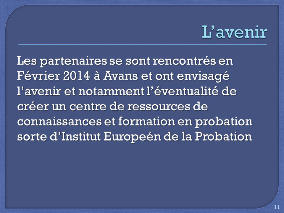Les partenaires se sont rencontrés en Février 2014 à Avans et ont envisagé lavenir et notamment léventualité de créer un centre de ressources de connaissances et formation en probation sorte dInstitut Europeén de la Probation 11