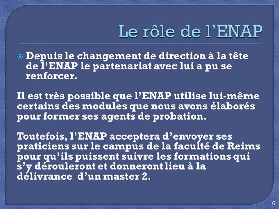 Depuis le changement de direction à la tête de lENAP le partenariat avec lui a pu se renforcer. Il est très possible que lENAP utilise lui-même certai