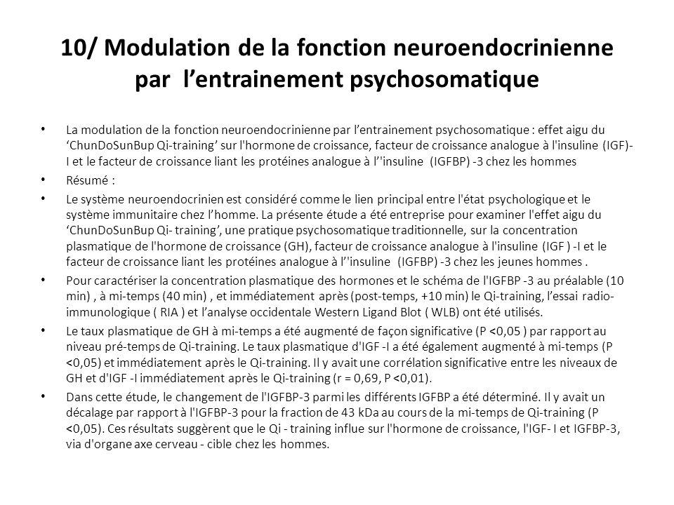 10/ Modulation de la fonction neuroendocrinienne par lentrainement psychosomatique La modulation de la fonction neuroendocrinienne par lentrainement psychosomatique : effet aigu du ChunDoSunBup Qi-training sur l hormone de croissance, facteur de croissance analogue à l insuline (IGF)- I et le facteur de croissance liant les protéines analogue à l insuline (IGFBP) -3 chez les hommes Résumé : Le système neuroendocrinien est considéré comme le lien principal entre l état psychologique et le système immunitaire chez lhomme.