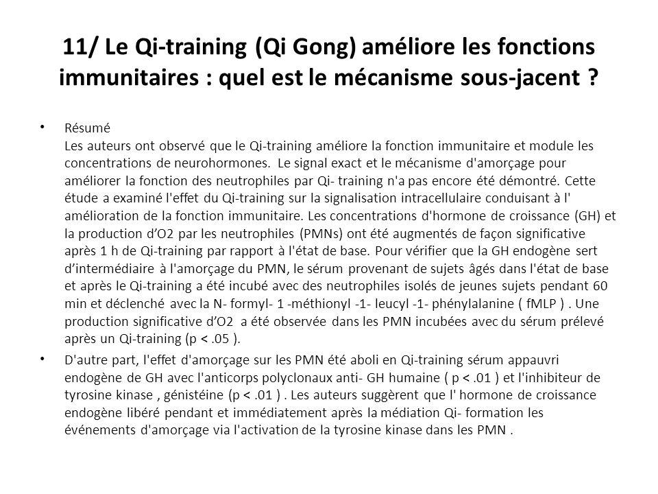 11/ Le Qi-training (Qi Gong) améliore les fonctions immunitaires : quel est le mécanisme sous-jacent .