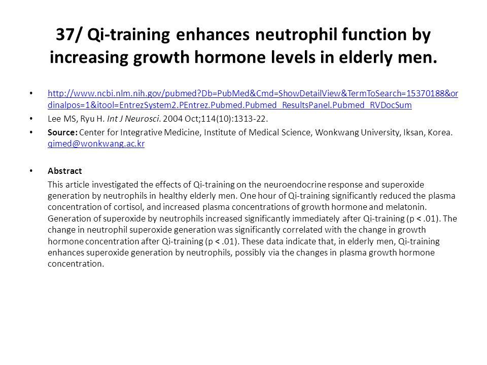 37/ Qi-training enhances neutrophil function by increasing growth hormone levels in elderly men.