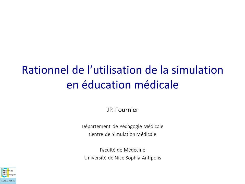 Rationnel de lutilisation de la simulation en éducation médicale JP. Fournier Département de Pédagogie Médicale Centre de Simulation Médicale Faculté