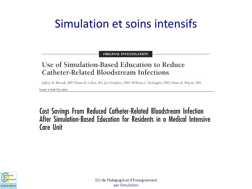 Simulation et soins intensifs DU de Pédagogie et dEnseignement par Simulation