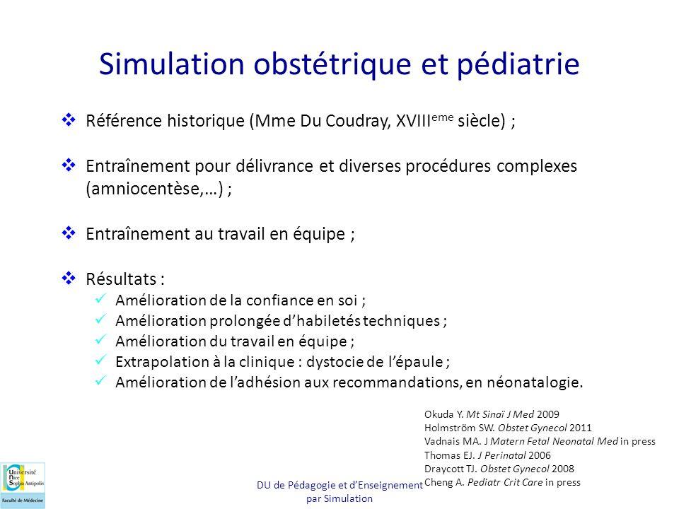 Simulation obstétrique et pédiatrie DU de Pédagogie et dEnseignement par Simulation Référence historique (Mme Du Coudray, XVIII eme siècle) ; Entraîne