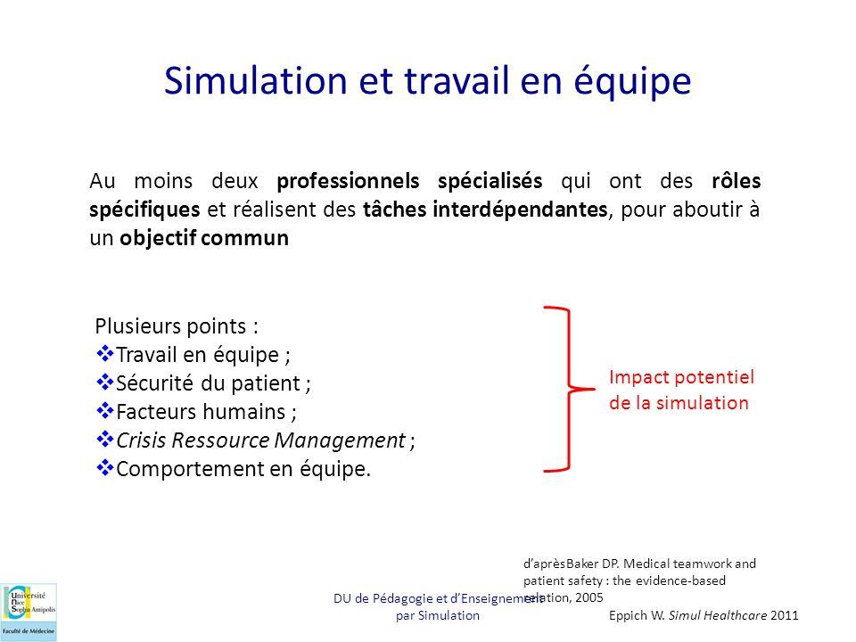 Simulation et travail en équipe Au moins deux professionnels spécialisés qui ont des rôles spécifiques et réalisent des tâches interdépendantes, pour