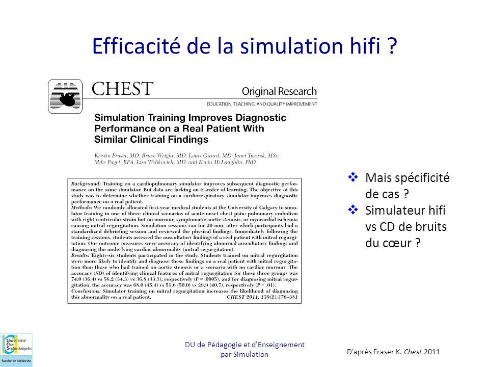 Efficacité de la simulation hifi ? Daprès Fraser K. Chest 2011 Mais spécificité de cas ? Simulateur hifi vs CD de bruits du cœur ? DU de Pédagogie et
