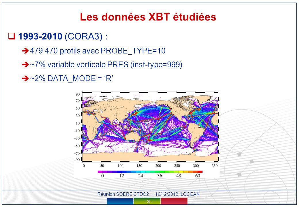 Réunion SOERE CTDO2 - 10/12/2012, LOCEAN - 4 - Les données XBT étudiées Classes de profondeur – pour le calcul des hauteurs dynamiques 400 et 700 m