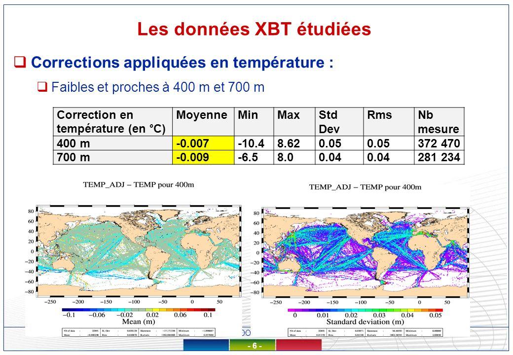 Réunion SOERE CTDO2 - 10/12/2012, LOCEAN - 6 - Les données XBT étudiées Corrections appliquées en température : Faibles et proches à 400 m et 700 m Correction en température (en °C) MoyenneMinMaxStd Dev RmsNb mesure 400 m-0.007-10.48.620.05 372 470 700 m-0.009-6.58.00.04 281 234