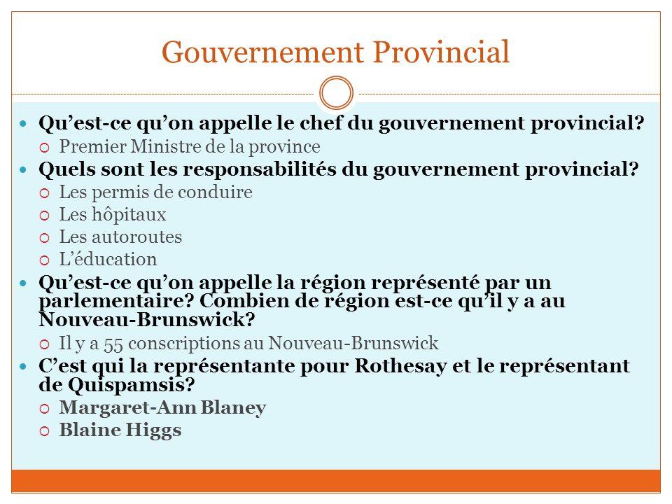 Gouvernement Provincial Quest-ce quon appelle le chef du gouvernement provincial.