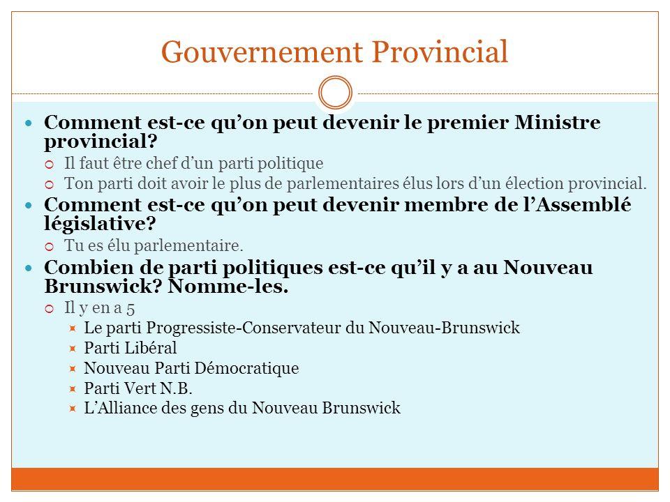 Gouvernement Provincial Comment est-ce quon peut devenir le premier Ministre provincial.