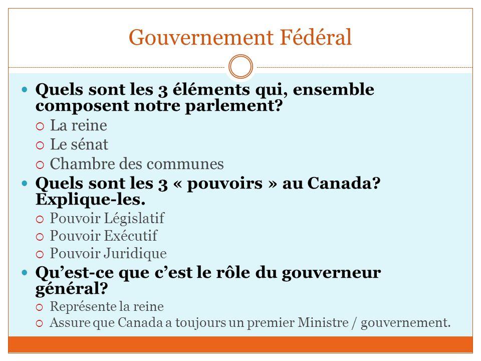 Gouvernement Fédéral Quels sont les 3 éléments qui, ensemble composent notre parlement.