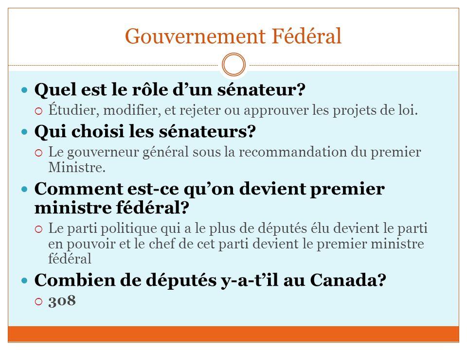 Gouvernement Fédéral Quel est le rôle dun sénateur.