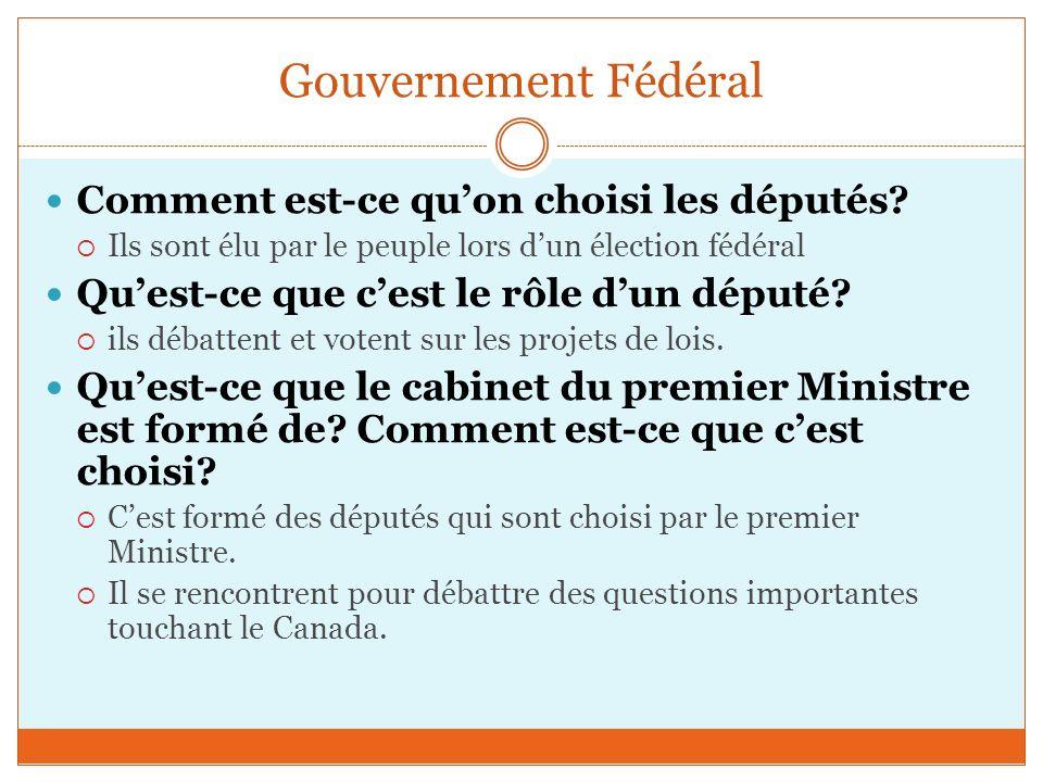Gouvernement Fédéral Comment est-ce quon choisi les députés.