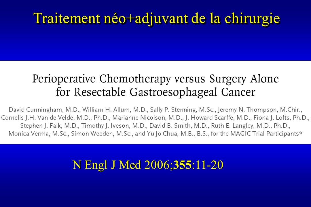 N Engl J Med 2006;355:11-20 Traitement néo+adjuvant de la chirurgie