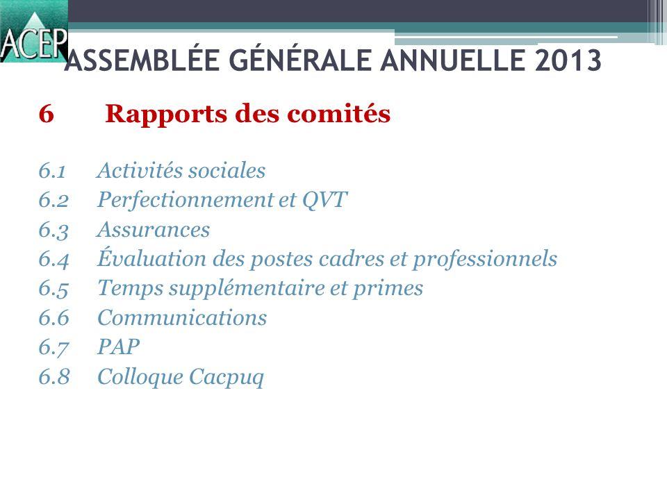 ASSEMBLÉE GÉNÉRALE ANNUELLE 2013 6Rapports des comités 6.1Activités sociales 6.2Perfectionnement et QVT 6.3Assurances 6.4Évaluation des postes cadres et professionnels 6.5Temps supplémentaire et primes 6.6Communications 6.7PAP 6.8Colloque Cacpuq