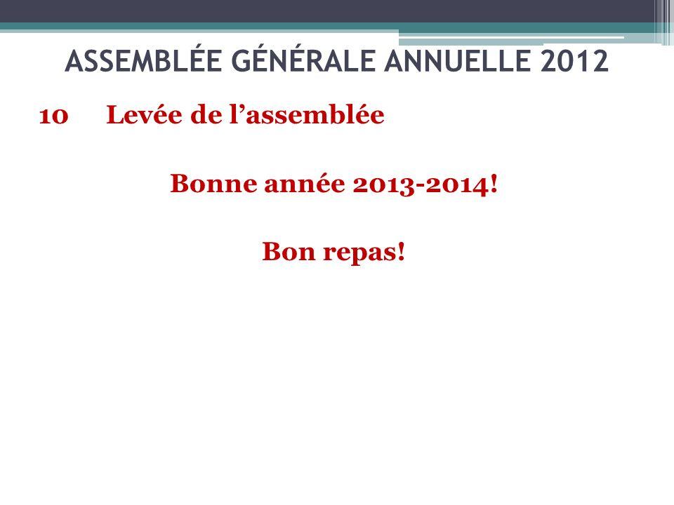 10Levée de lassemblée Bonne année 2013-2014! Bon repas! ASSEMBLÉE GÉNÉRALE ANNUELLE 2012
