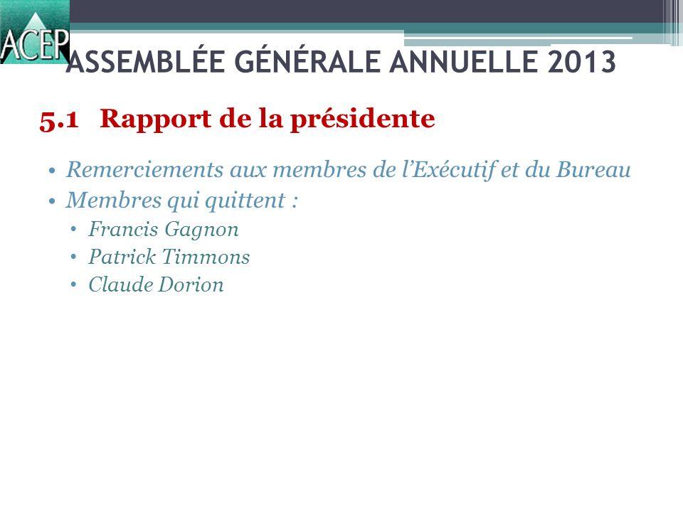 ASSEMBLÉE GÉNÉRALE ANNUELLE 2013 5.1 Rapport de la présidente Remerciements aux membres de lExécutif et du Bureau Membres qui quittent : Francis Gagnon Patrick Timmons Claude Dorion