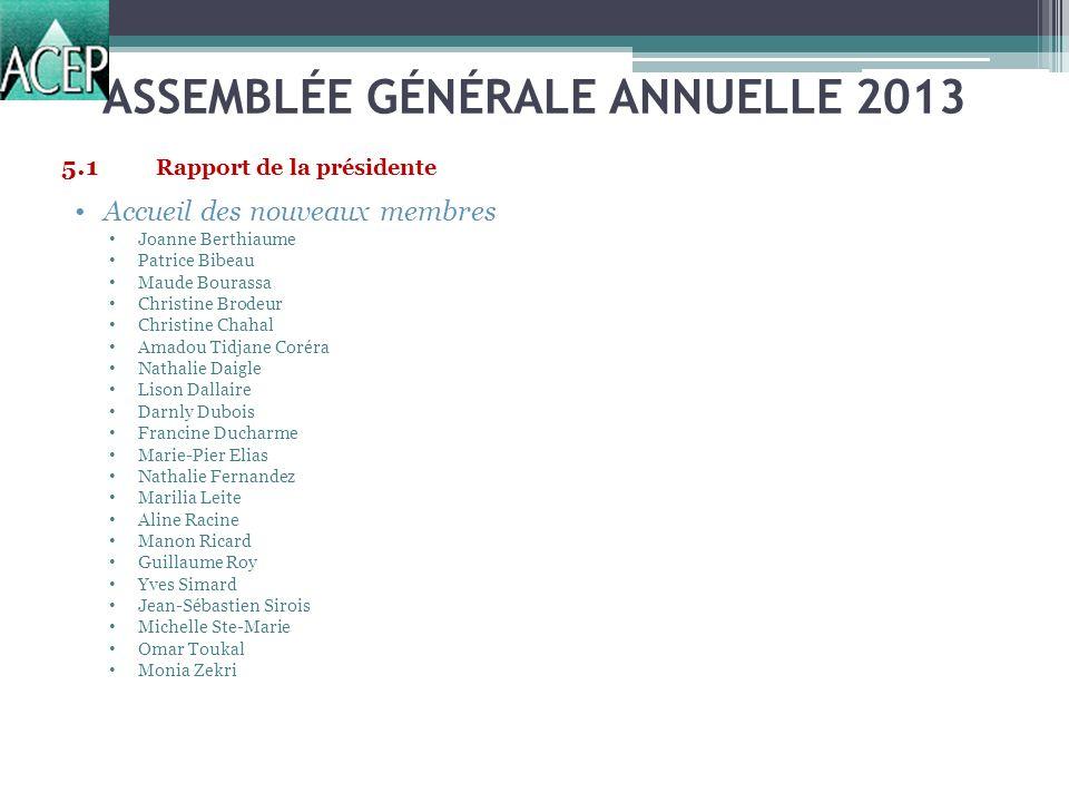 ASSEMBLÉE GÉNÉRALE ANNUELLE 2013 Candidats Isabelle Brisebois Pierre Corriveau François Filiatrault Olivier St-Germain-Lavoie Monia Zekri 8.2Nomination dun président délection