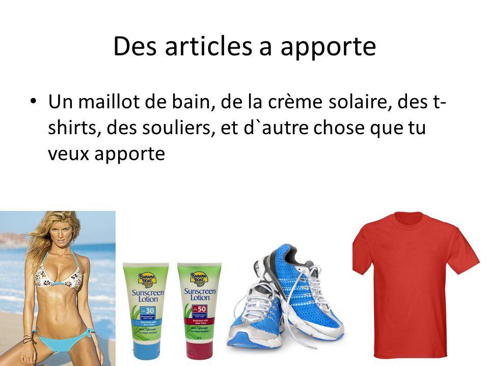 Des articles a apporte Un maillot de bain, de la crème solaire, des t- shirts, des souliers, et d`autre chose que tu veux apporte