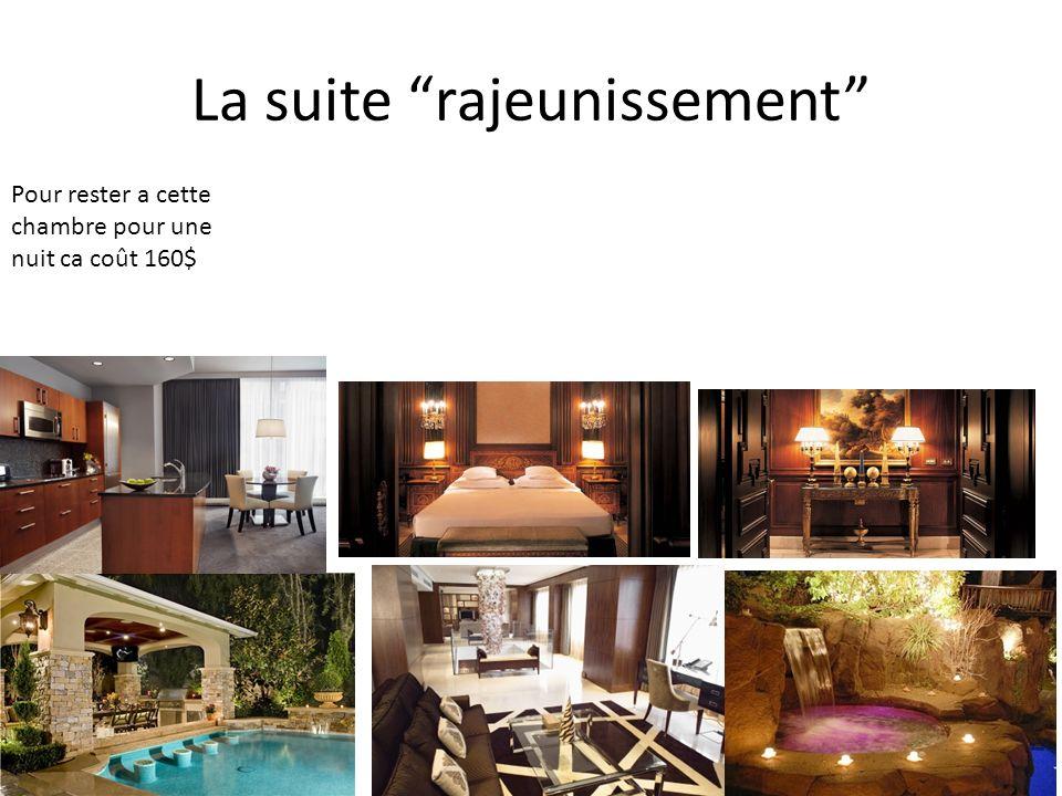 La suite rajeunissement Pour rester a cette chambre pour une nuit ca coût 160$