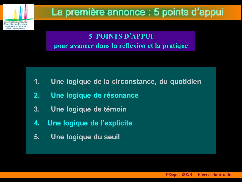 @Sgec 2013 - Pierre Robitaille 1.Une logique de la circonstance, du quotidien 2.Une logique de résonance 3.Une logique de témoin 4.