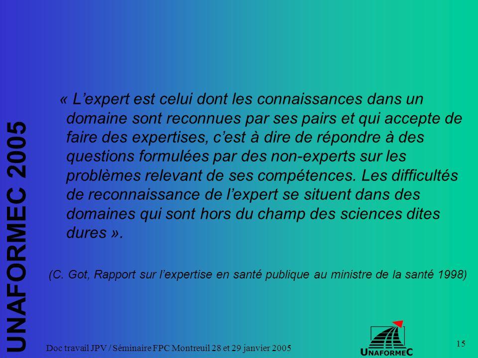 UNAFORMEC 2005 Doc travail JPV / Séminaire FPC Montreuil 28 et 29 janvier 2005 15 « Lexpert est celui dont les connaissances dans un domaine sont reco