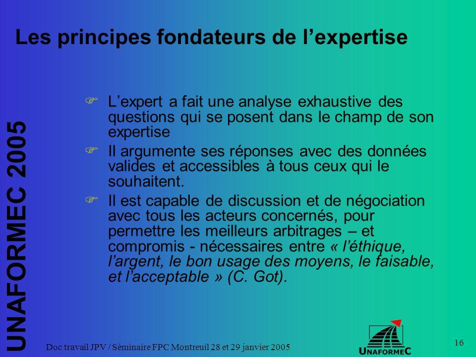UNAFORMEC 2005 Doc travail JPV / Séminaire FPC Montreuil 28 et 29 janvier 2005 16 Les principes fondateurs de lexpertise Lexpert a fait une analyse ex