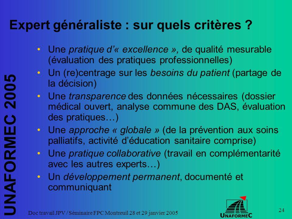 UNAFORMEC 2005 Doc travail JPV / Séminaire FPC Montreuil 28 et 29 janvier 2005 24 Expert généraliste : sur quels critères ? Une pratique d« excellence