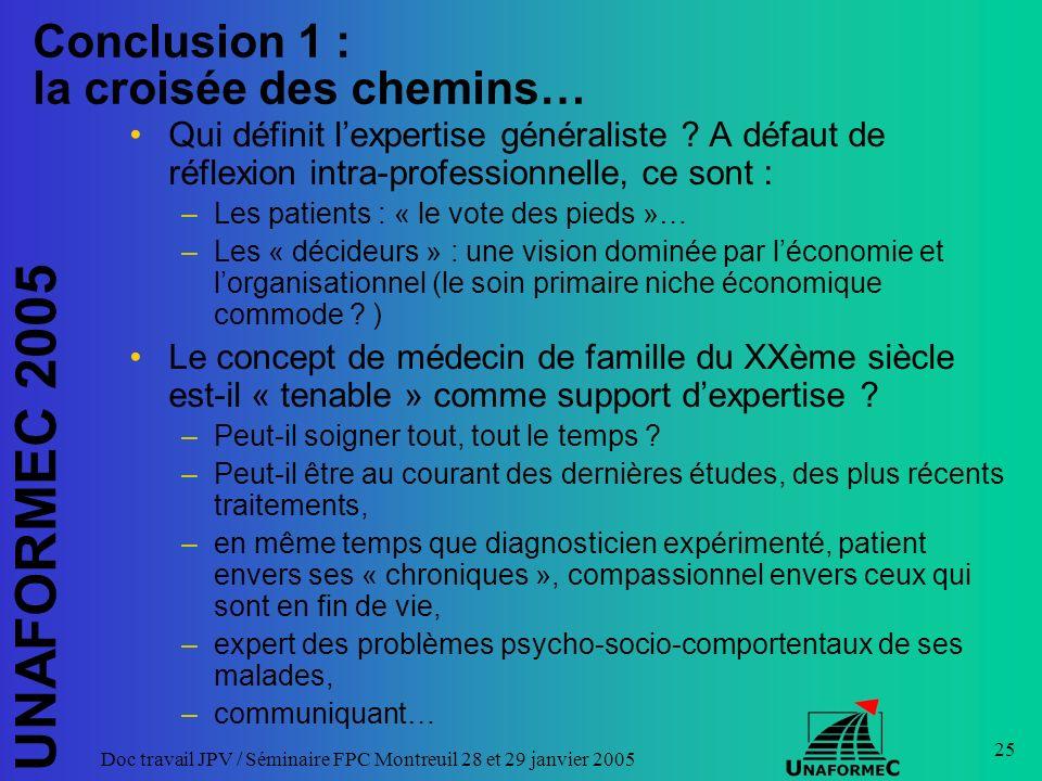 UNAFORMEC 2005 Doc travail JPV / Séminaire FPC Montreuil 28 et 29 janvier 2005 25 Conclusion 1 : la croisée des chemins… Qui définit lexpertise généraliste .
