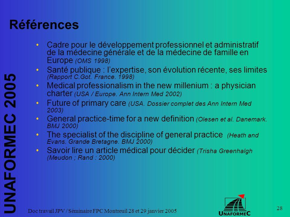 UNAFORMEC 2005 Doc travail JPV / Séminaire FPC Montreuil 28 et 29 janvier 2005 28 Références Cadre pour le développement professionnel et administrati