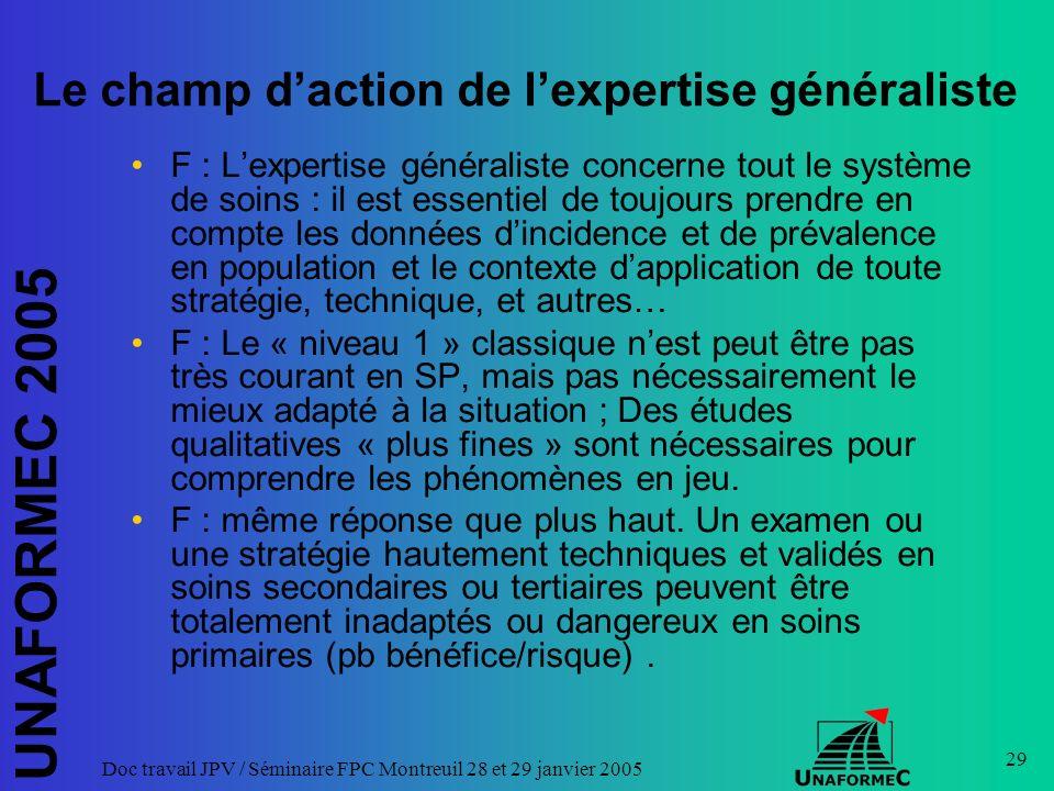 UNAFORMEC 2005 Doc travail JPV / Séminaire FPC Montreuil 28 et 29 janvier 2005 29 Le champ daction de lexpertise généraliste F : Lexpertise généralist