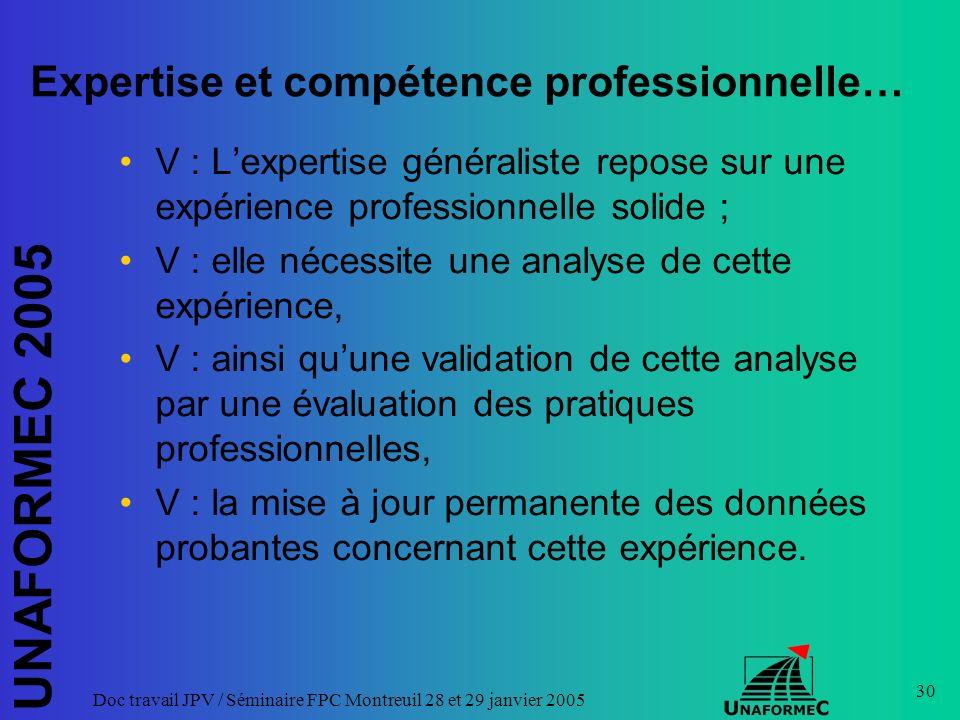 UNAFORMEC 2005 Doc travail JPV / Séminaire FPC Montreuil 28 et 29 janvier 2005 30 Expertise et compétence professionnelle… V : Lexpertise généraliste
