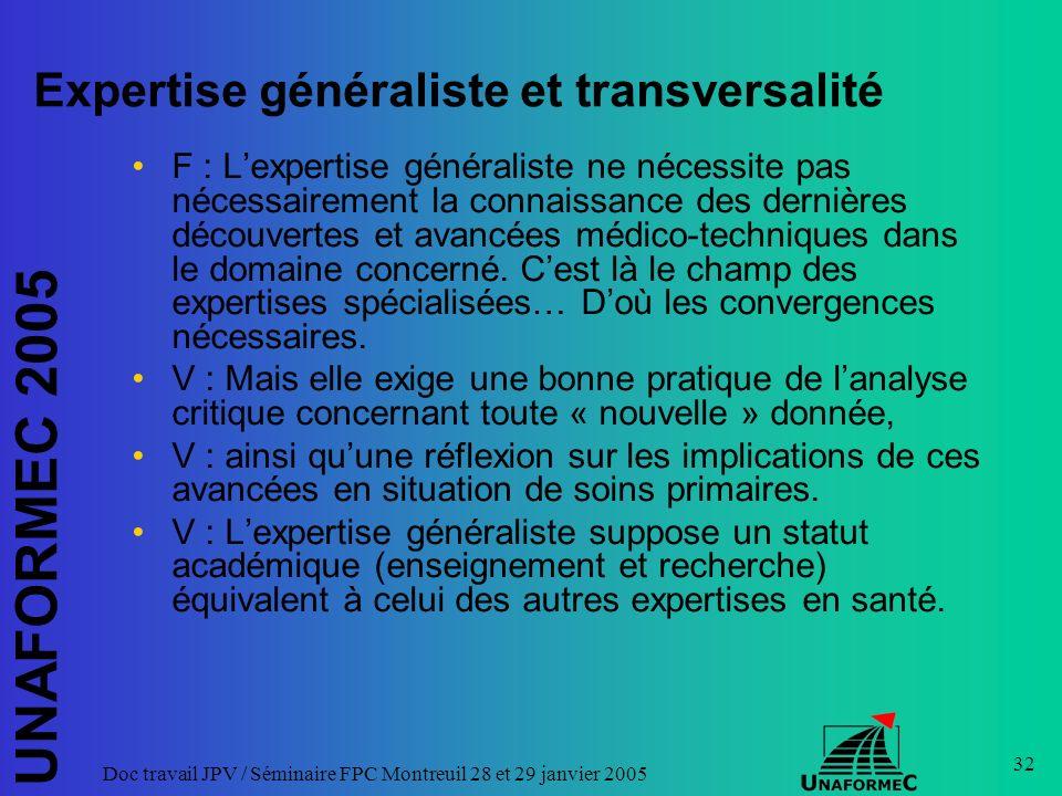 UNAFORMEC 2005 Doc travail JPV / Séminaire FPC Montreuil 28 et 29 janvier 2005 32 Expertise généraliste et transversalité F : Lexpertise généraliste n