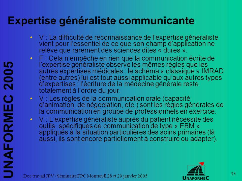 UNAFORMEC 2005 Doc travail JPV / Séminaire FPC Montreuil 28 et 29 janvier 2005 33 Expertise généraliste communicante V : La difficulté de reconnaissan