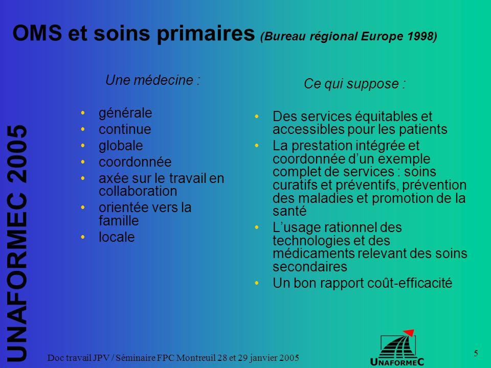 UNAFORMEC 2005 Doc travail JPV / Séminaire FPC Montreuil 28 et 29 janvier 2005 5 OMS et soins primaires (Bureau régional Europe 1998) Une médecine : g