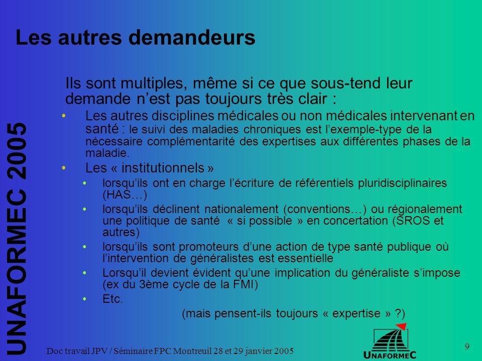 UNAFORMEC 2005 Doc travail JPV / Séminaire FPC Montreuil 28 et 29 janvier 2005 20 Une expertise « à géométrie variable » .