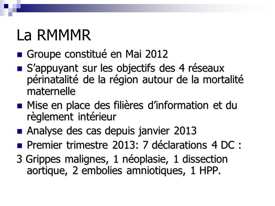 La RMMMR Groupe constitué en Mai 2012 Groupe constitué en Mai 2012 Sappuyant sur les objectifs des 4 réseaux périnatalité de la région autour de la mo