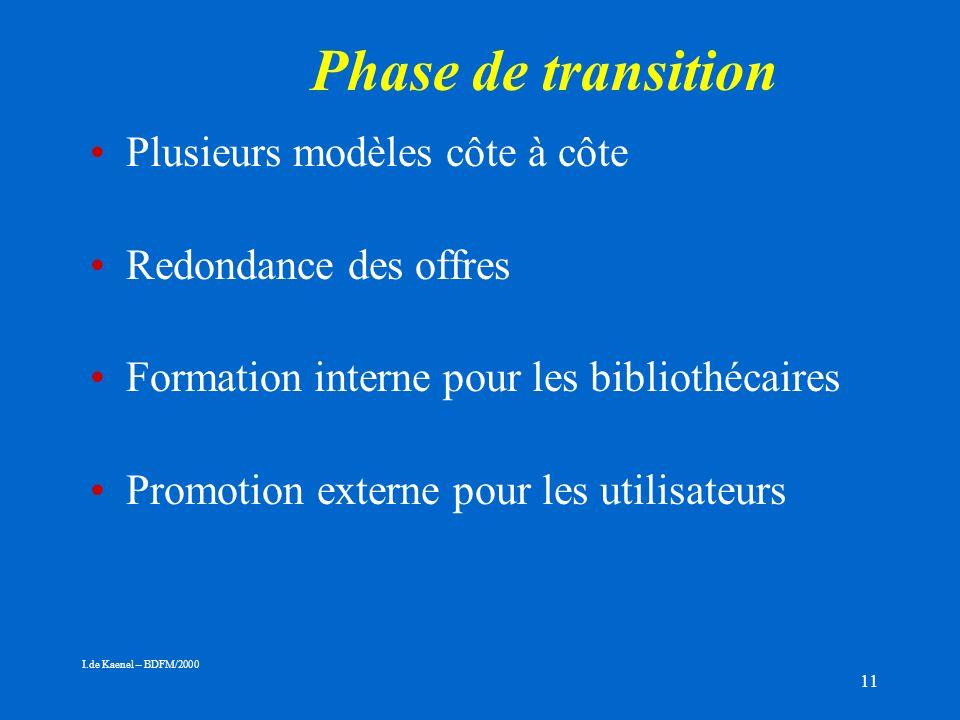 11 Phase de transition Plusieurs modèles côte à côte Redondance des offres Formation interne pour les bibliothécaires Promotion externe pour les utilisateurs I.de Kaenel – BDFM/2000
