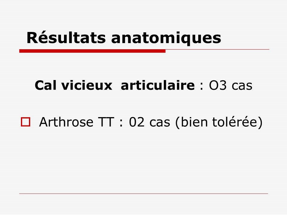 Résultats anatomiques Cal vicieux articulaire : O3 cas Arthrose TT : 02 cas (bien tolérée)