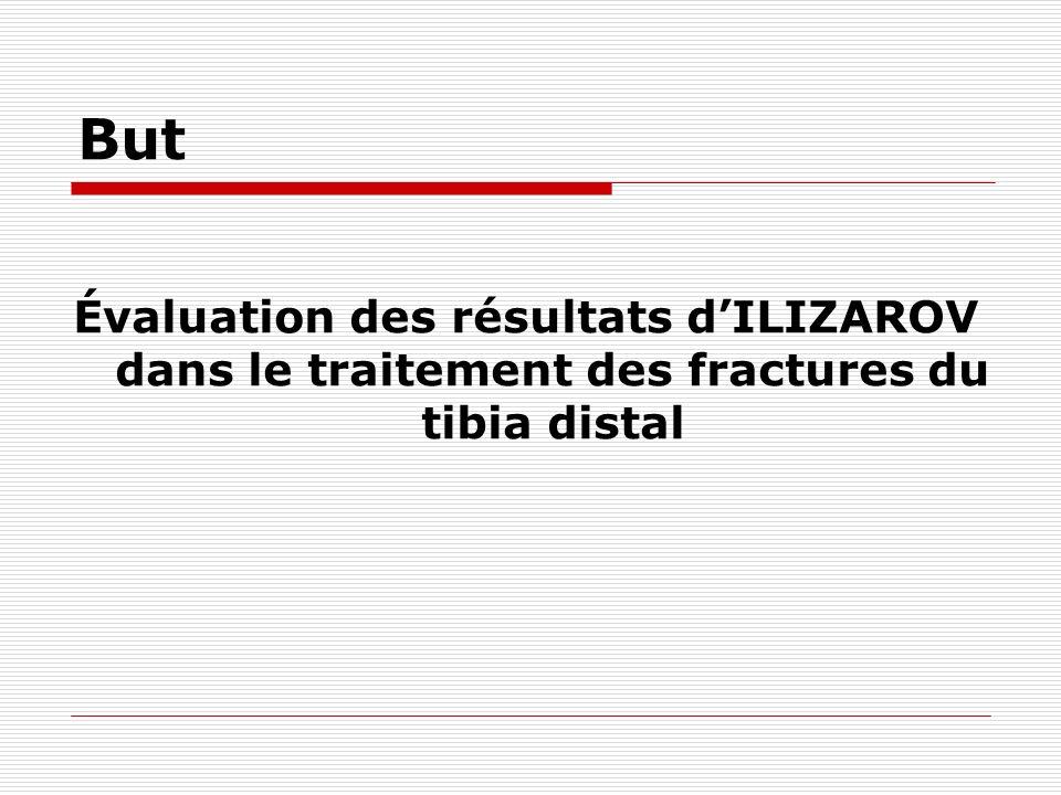 But Évaluation des résultats dILIZAROV dans le traitement des fractures du tibia distal
